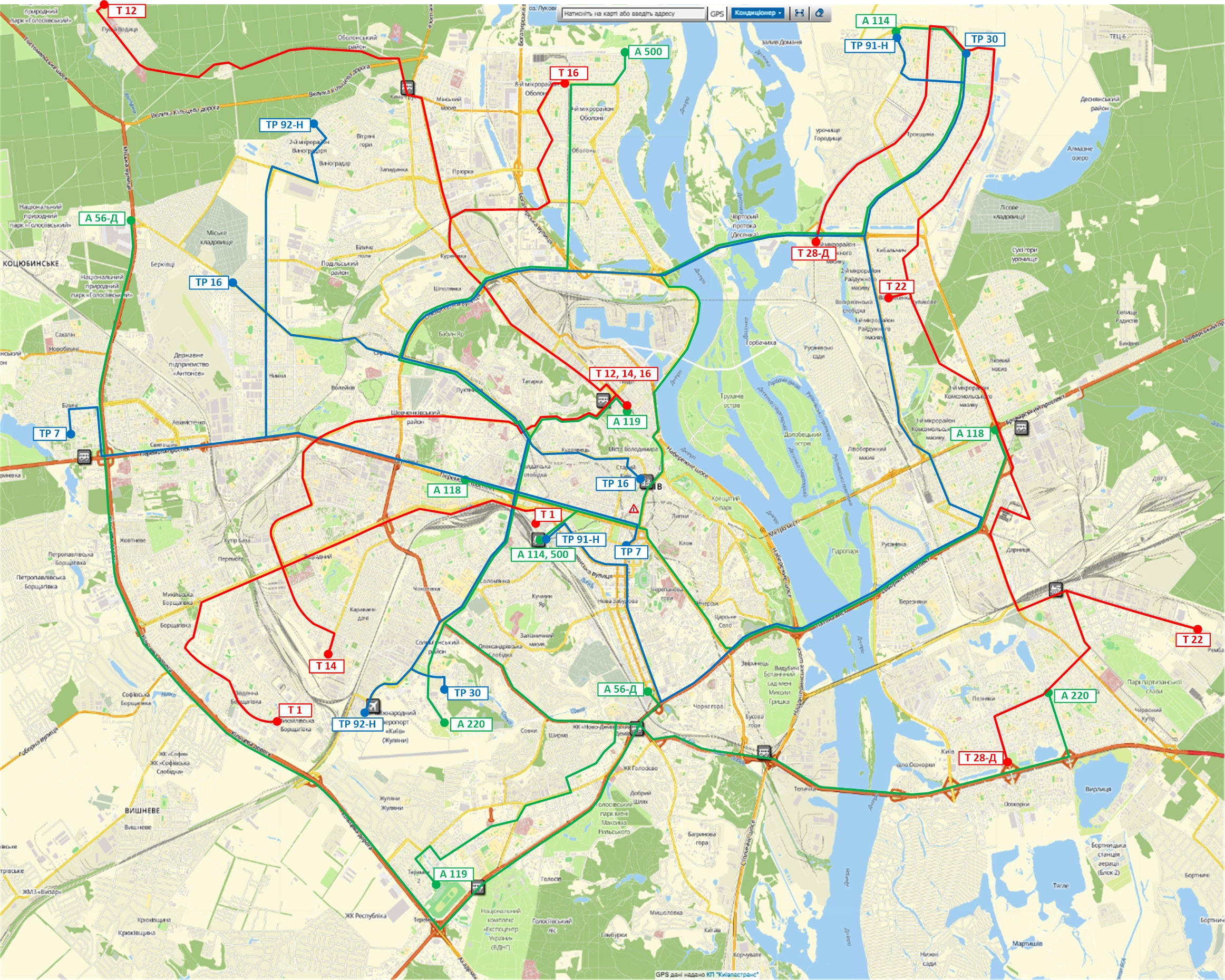 Опубликована схема движения общественного транспорта в Киеве