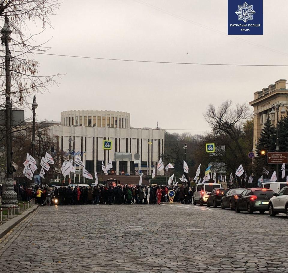 В Киеве заблокировано движение на Грушевского: на митинг снова вышли предприниматели